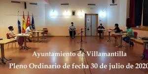Vídeo del Pleno Ordinario del Ayuntamiento de Villamantilla - 30 de julio de 2020