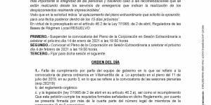 Suspensión y nueva Convocatoria de Pleno Extraordinario del Ayuntamiento de Villamantilla - 04 de febrero de 2021