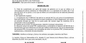 Convocatoria de Pleno Extraordinario del Ayuntamiento de Villamantilla - 14 de enero de 2021