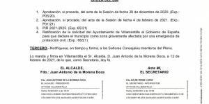 Convocatoria de Pleno Extraordinario del Ayuntamiento de Villamantilla - 17 de febrero de 2021