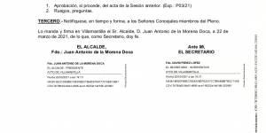 Convocatoria de Pleno ordinario del Ayuntamiento de Villamantilla - 25 de marzo de 2021