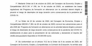 Concesión subvención - Convocatoria de ayudas del programa de formación en alternancia